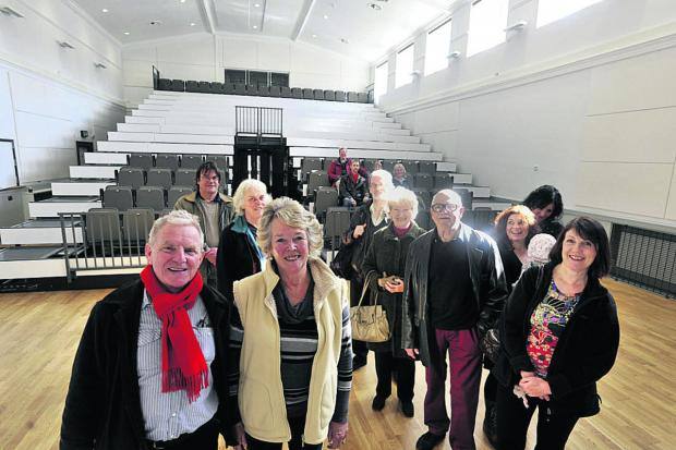 This Is Wiltshire: Sue Bolden, chairman of the Bradfordians drama society with Mayor John Potter and Bradfordians members taking a look round the newly refurbished St Margaret's Hall on Wednesday                                              Photo: Glenn Phillips (49301)
