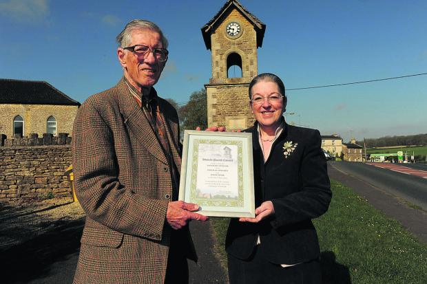 This Is Wiltshire: David Webb was given the freedom of the village of Atworth. With him is the chairman of the parish council,  Effie Gale-Sides.  Photo: Trevor Porter (48643)
