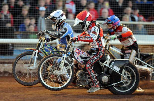 This Is Wiltshire: Swindon Robins rider Simon Gustafsson in action last night at Blunsdon
