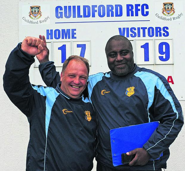 This Is Wiltshire: Trowbridge team manager Nobby Knight and head coach Steve Ojomoh celebrate Saturday's semi final win at Guildford
