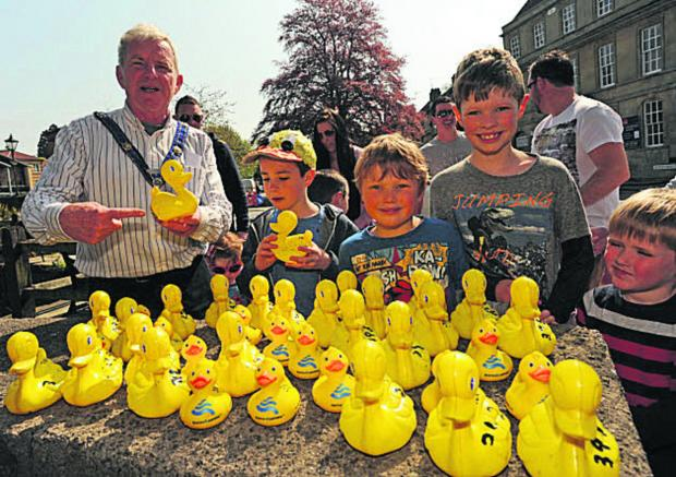 This Is Wiltshire: John Potter, mayor Bradford on Avon, promotes the Easter duck race