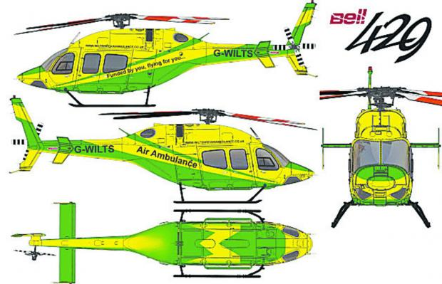 This Is Wiltshire: The striking livery for the new Wiltshire Air Ambulance was unveiled today