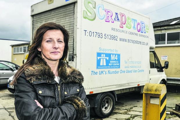 This Is Wiltshire: Olivia McCann, of the Scrapstore, with the van that was damaged