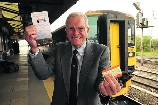 This Is Wiltshire: Councillor Horace Prickett promoting the discounted rail tickets for the service between Weymouth and Westbury now available to senior citizens (48655) Photo: Trevor Porter