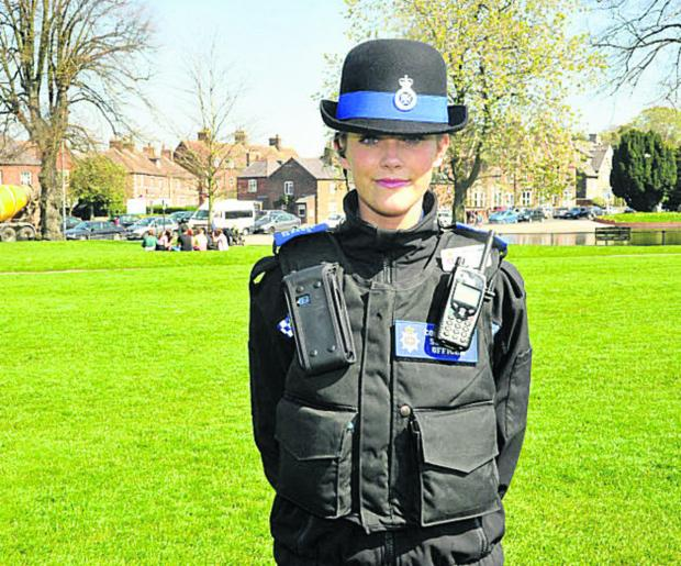 This Is Wiltshire: PCSO Jemma Butcher will be one of those helping keep The Green, Devizes, safe this summer (VS302) By Vicky Scipio