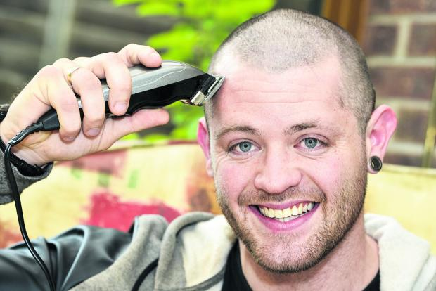 This Is Wiltshire: Testicular cancer sufferer James Baker raised £3,500 for cancer charity Everyman with a headshave last week