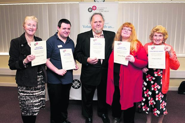 This Is Wiltshire: Pauline Scott from Royal Wootton Bassett; James Paul, a volunteer from Brookside in Melksham; Christopher Compton, of Royal Wootton Bassett; Lucy Bray, a volunteer from Hungerford House in Corsham; and Sonia Gittins, who volunteers at Hungerford House