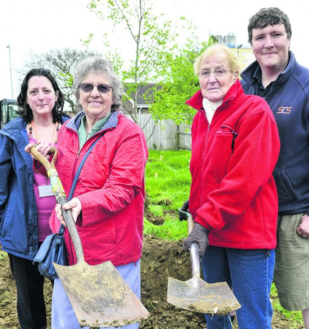 This Is Wiltshire: The East Locality team, residents and Rangers are to plant an  orchard on Saturday. From left, locality facilitator Tracy Scott, residents Carole Brownlee and Hilda Bushnell and Ranger David Boase