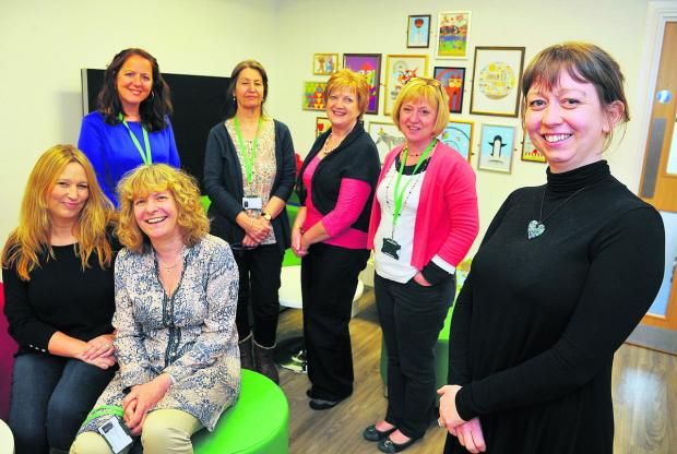 This Is Wiltshire: At the opening of the new NSPCC service centre in Old Town are, from left, Caroline Morgan, Carla Jacques, Jeannette Chipping, Irene Davis, Geraldine O'Driscoll, Donna Oakes and Anouska Inns