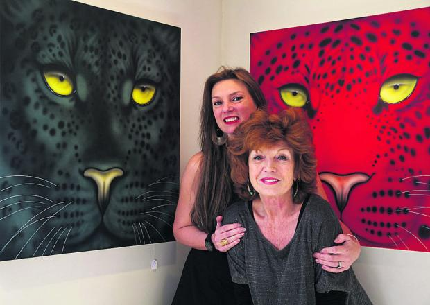 This Is Wiltshire: Joanna May and Rula Lenska at Ms May's latest art exhibition