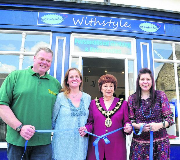 This Is Wiltshire: Proprietor Matt Turner, director Liz Turner, mayor Mercy Baggs and embroiderer Katy Light at the store's opening ceremony