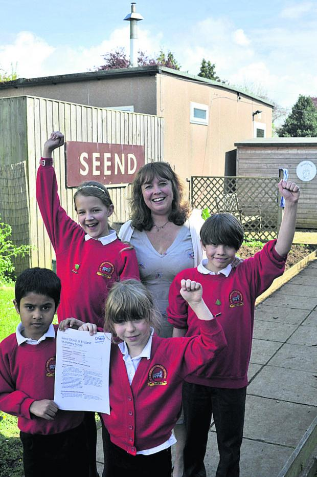 This Is Wiltshire: Seend CE Primary School headteacher Jackie Chalk with head boy Harvey, head girl Anouk and pupils Mushin and Sadie who spoke to the inspectors                        (49345) By Glenn Phillips