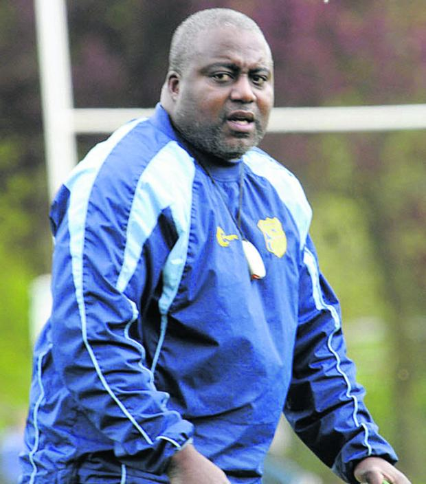 This Is Wiltshire: Trowbridge coach Steve Ojomoh watches the action in last weekend's RFU Intermediate Cup semi final