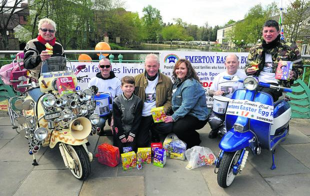 This Is Wiltshire: Nita Derrick, Colin Thom, Lucas Chisholm-Joyce, Steve Joyce, Lisa Chisholm, Terry Dysak and organiser Tony Falcone with an array of eggs                                                          (VS305) By Vicky Scipio
