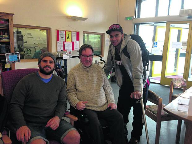 This Is Wiltshire: Bath players Rob Webber and Jonathan Joseph with centre volunteer Neil Martin