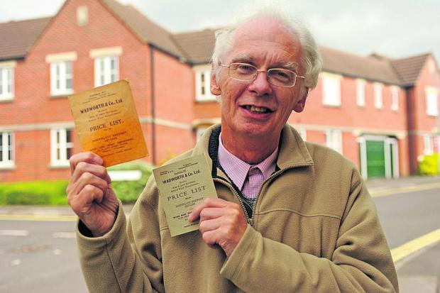 This Is Wiltshire: Adrian Pegg with the old Wadworth price lists for sale at the book fair in Devizes  (48670)