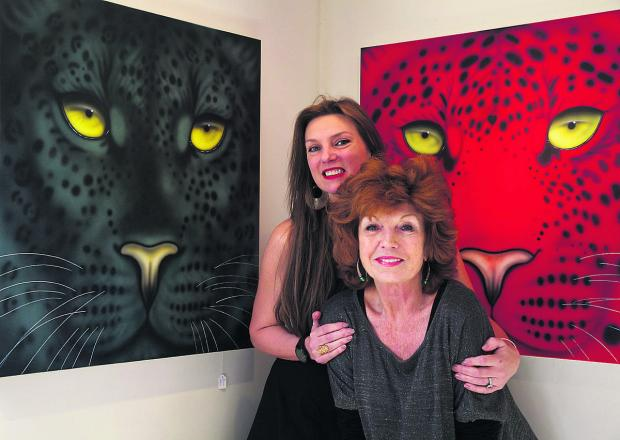 This Is Wiltshire: Artist Joanna May with her close friend, actress Rula Lenska, at the exhibition