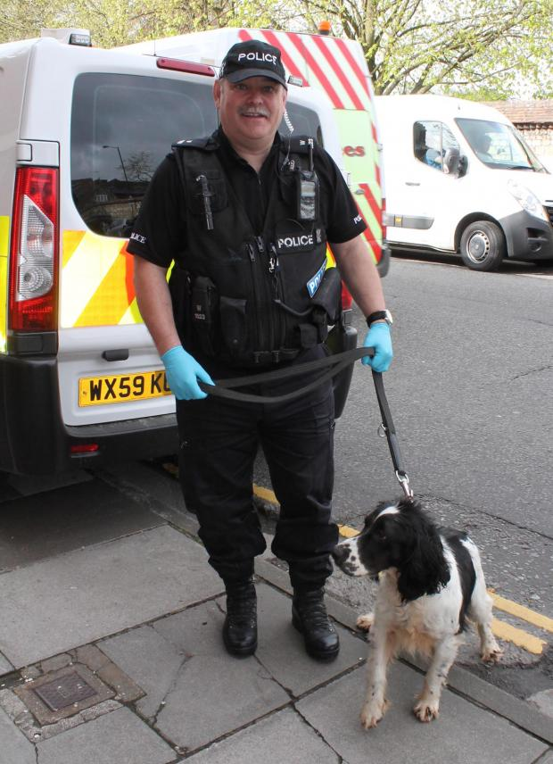 This Is Wiltshire: Officers from across Wiltshire took part alongside specialist drugs dogs today