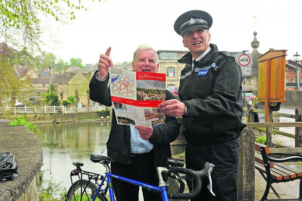 This Is Wiltshire: Police Inspector Chris Chammings and mayor John Potter are hoping the cycle route can be altered to come through the town