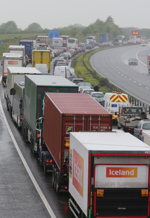 This Is Wiltshire: Queues on the M4 after this morning's accident
