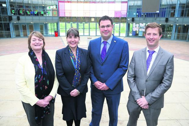 This Is Wiltshire: From left, Pat Porter, the chairman of governors at Nova Hreod School, current principal Julie Tridgell, new principal Darren Barton and new executive principal Ben Parnell