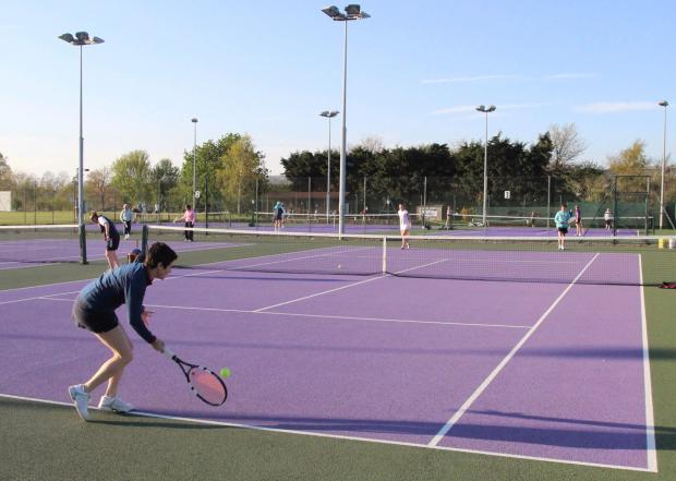 This Is Wiltshire: Striking new colours at Devizes Tennis Club, off London Road. The club is allowing free play on May 17 and 18 as part of the Great British Tennis Weekend