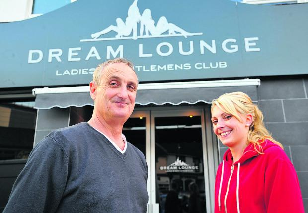 This Is Wiltshire: Pete and Charlotte Rogers at the  re-opening of the Dream Lounge lapdance club after it was gutted by fire last summer