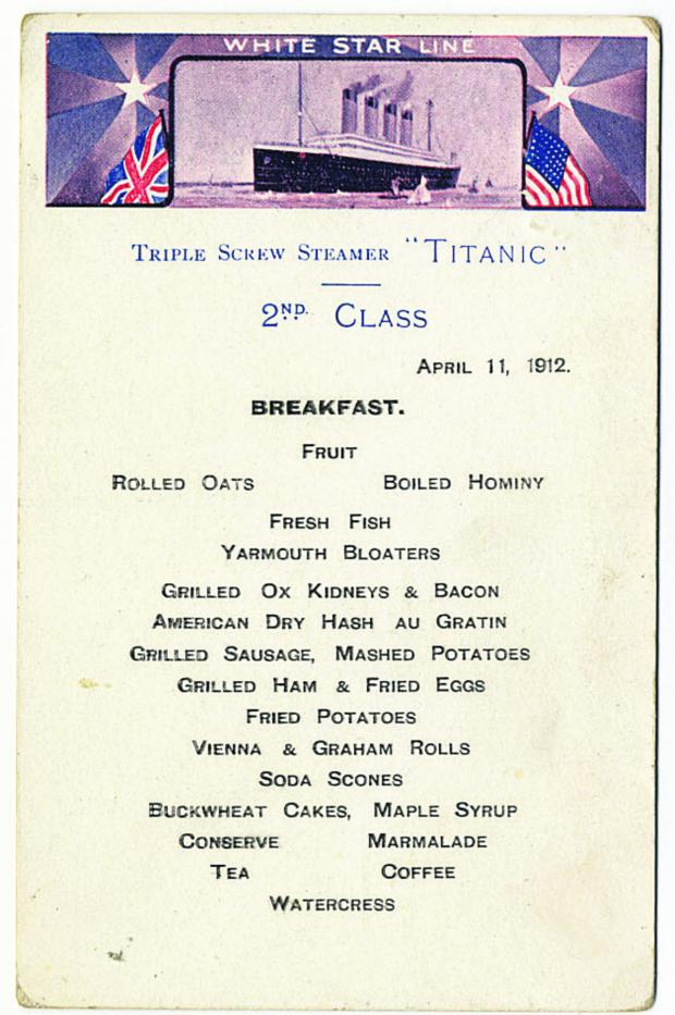 This Is Wiltshire: A second class breakfast menu for the Titanic went under the hammer for £87,000 in Devizes