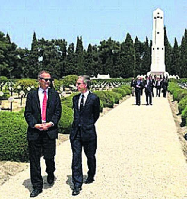 This Is Wiltshire: MP Andrew Murrison at Gallipoli with, left, Leigh Turner, the UK Consul General