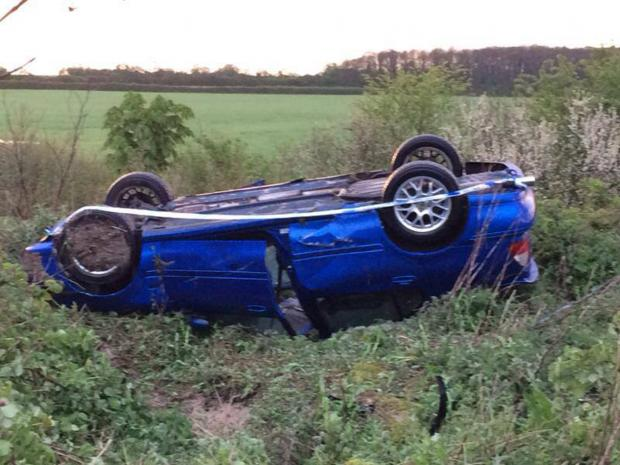 This Is Wiltshire: The accident scene at the Withy Bed area of Bushton