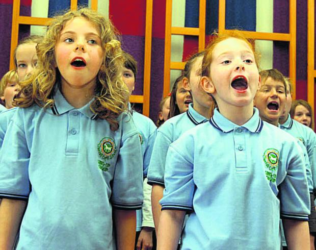 This Is Wiltshire: Children from Cherhill School's Sing-up-Group perform at Calne's Spring Sing in Marden House