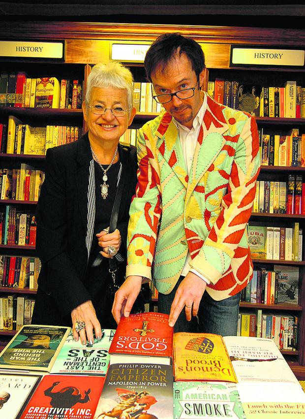 This Is Wiltshire: Author Jacqueline Wilson and White Horse Bookshop manager Angus MacLennan. (PM1207) Picture by Paul Morris