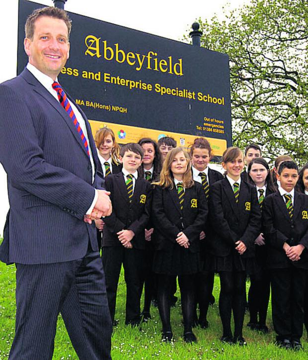 This Is Wiltshire: New Abbeyfield School head Ian Tucker with year seven pupils. (PM1218) Picture by Paul Morris