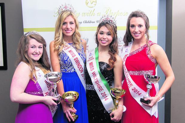This Is Wiltshire: Pretty maids all in a row – centre left is Miss Swindon, Catissa Creighton with Nicole Cole, winner of Miss Wiltshire and the two runners-up. Picture: CMG Photography