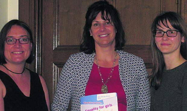 This Is Wiltshire: Devizes MP Claire Perry with Julie Bentley, chief executive of Girlguiding UK, and, right, Elli Moody, advocacy and public affairs manager