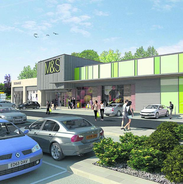 This Is Wiltshire: An artist's impression of the proposed M&S Simply Food store The Bridge Centre site in Chippenham
