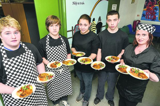 This Is Wiltshire: Liam Dodson, Aaron James, Jade Hopkins, Kyle Parmenter, Michelle Ali with dishes they prepared