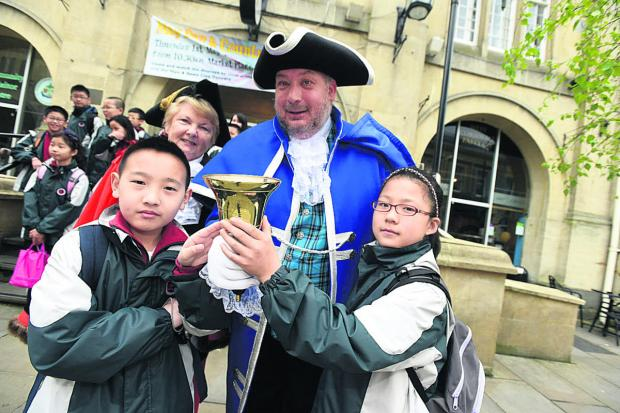 This Is Wiltshire: Mayor Sylvia Gibson and town crier Dennis Phillips with students Frank and Lucy