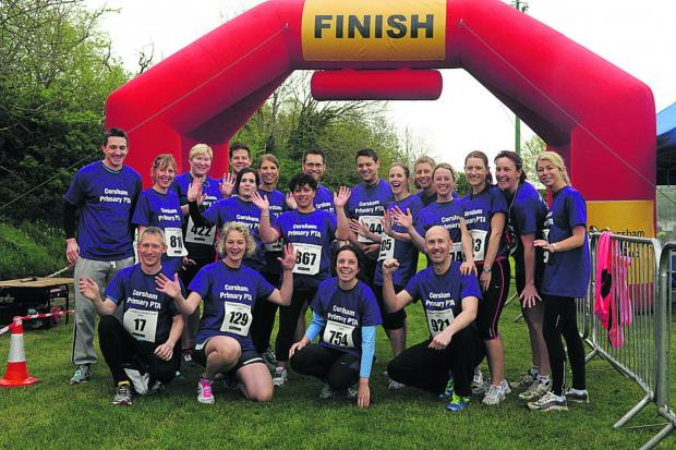 This Is Wiltshire: Corsham Primary School's PTA gathers prior to the start of the biggest Corsham 10k event ever