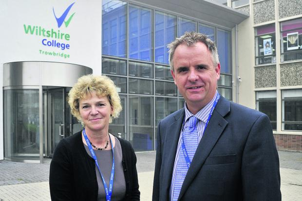 This Is Wiltshire: Acting principal Amanda Burnside, with vice-principal Ben Allen, says communication is key to winning staff over as Wiltshire College sets about recovering from a poor Ofsted report    (49363-2) By glenn phillips