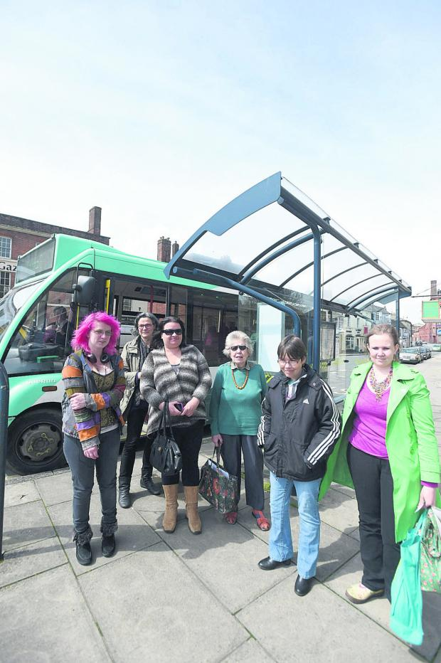 This Is Wiltshire: Passengers Julia Fowler, left, Kate Freeman, Katie Fleming, Dorothy Robertson, Sarah Hoskins and Chloe Lear are concerned about cuts to the Connect2 services  (1282) By Diane Vose