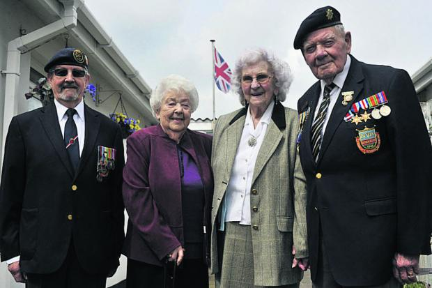 This Is Wiltshire: Normandy veterans Bob Conway of Trowbridge, right, and Wally Beall  from Calne and their wives Gwen, centre right, and Jean will be making the trip to France,