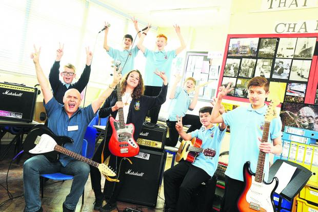 This Is Wiltshire: Music workshop at Commonweal School. Pictured Phil Spalding with his class of Ben, Elinor, Bradley, Tom, Dan, Jacob and Tom