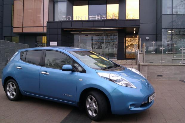 This Is Wiltshire: An electric car charging outside County Hall, Trowbridge