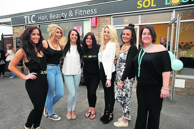 This Is Wiltshire: Staff from TLC and The Sol Lounge at the launch of the new tanning shop in College Road, Trowbridge Photo: Trevor Porter (48657)