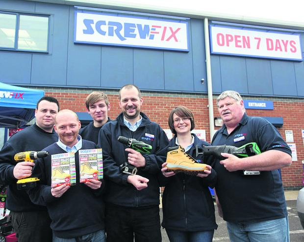 This Is Wiltshire: Jack Gilbert, Andrew Dilworth, Josh Bridewell, manager Mike Davey, Kirsty Holden and Geoff Dobie at the opening of the new Screwfix store