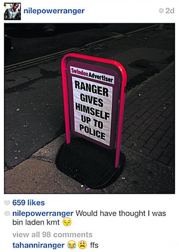 This Is Wiltshire: Nile Ranger's Instagram post