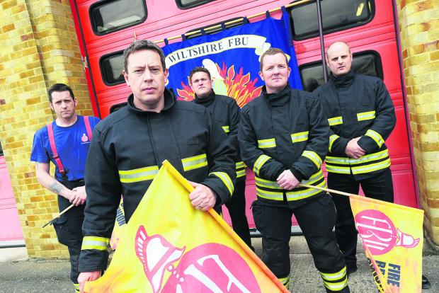 This Is Wiltshire: Striking firemen at Drove fire station in Swindon recently