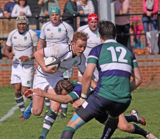 This Is Wiltshire: Devizes fly-half Rory Brown on a charge.for Dorset & Wilts