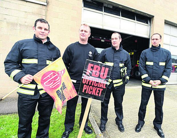 This Is Wiltshire: Striking firefighters at Chippenham: watch manager Paul Hanlon, Rob Kymoch, Colin Tailby and Paul Peche. (DV1287 Picture by Diane Vose